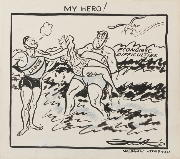 Robert Menzies, dressed as a lifeguard, emerges from the ocean holding a woman he has rescued from drowning. However, a more handsome lifeguard, with a sash that reads Labor, gets the credit, with the woman crying 'My Hero!' as she tries to embrace him.