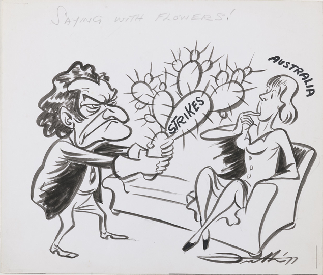 A woman, labelled Australia, sits on a couch. Bob Hawke, an angry look on his face, approaches her holding a cactus like a bouquet of flowers. The cactus is labelled Strikes.