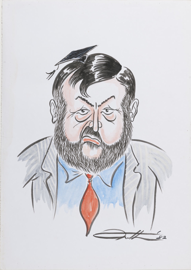 Caricature of John Dawkins, Shadow Minister for Education and later Minister for Education in the Hawke government, later still Treasurer in the Keating government.