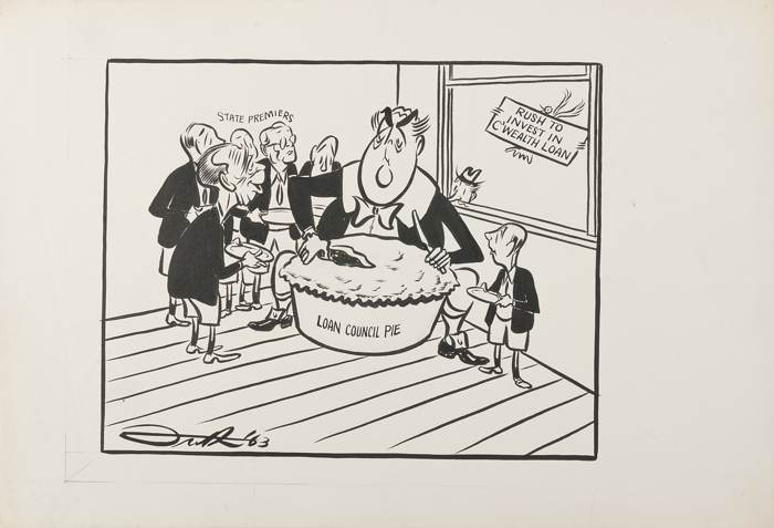 Robert Menzies is depicted as Little Jack Horner, cutting into a large pie. He is surrounded by representations of the six state Premiers, of which Henry Bolte is most prominent, holding plates expectantly. A bird outside the window holds a sign: Rush to invest in C'wealth Loan.