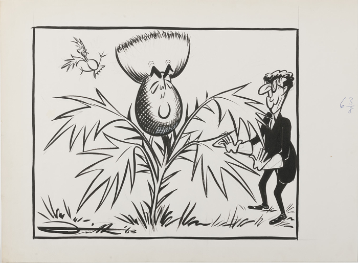 Robert Menzies depicted as a thistle, while a cranky Arthur Calwell looks on.