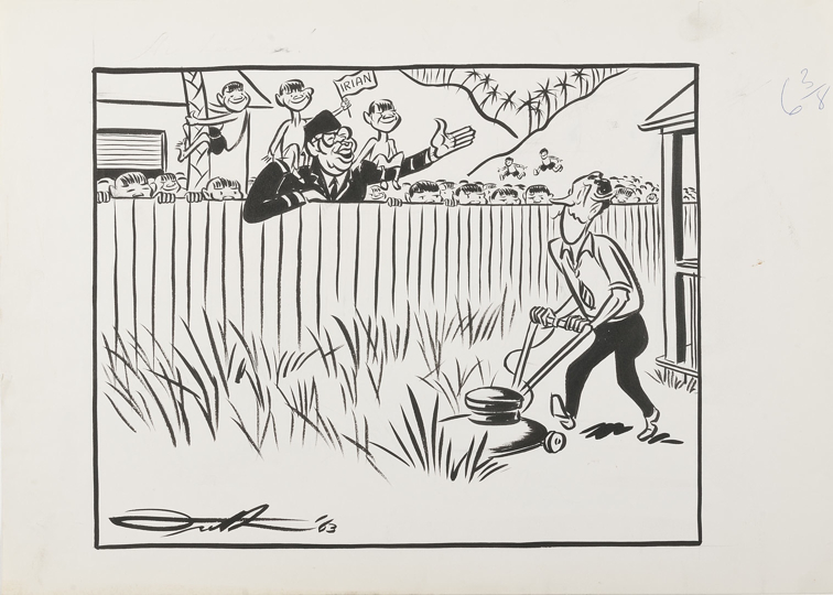 A man (Frith) mows his lawn, while another man waves to him over the fence. On the second man's shoulders and climbing a tree near him are three children, one of whom holds a flag which says Irian. There are palm trees and desert on the other side of the fence, and a lot of people crowding the yard.