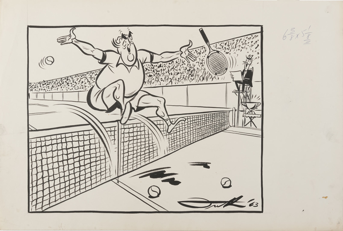 Menzies is shown on a tennis court, leaping over the net, throwing his racquet aside in glee, beaming before a crowd.