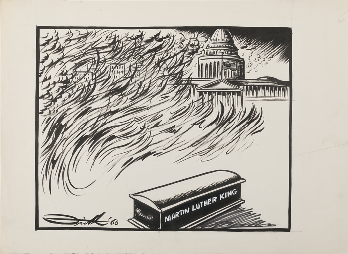 A coffin labelled 'Martin Luther King' sits before the United States Capitol, its flag at half mast, as a thunderstorm rages above the Capitol and flames burn across it and the city in the background.