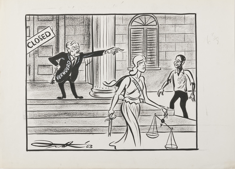 A figure of a woman representing Justice, carrying a sword, a scale and with a sash labelled Justice, is ejected from a courthouse by Hendrik Verwoerd, as a black South African man looks on dejectedly.