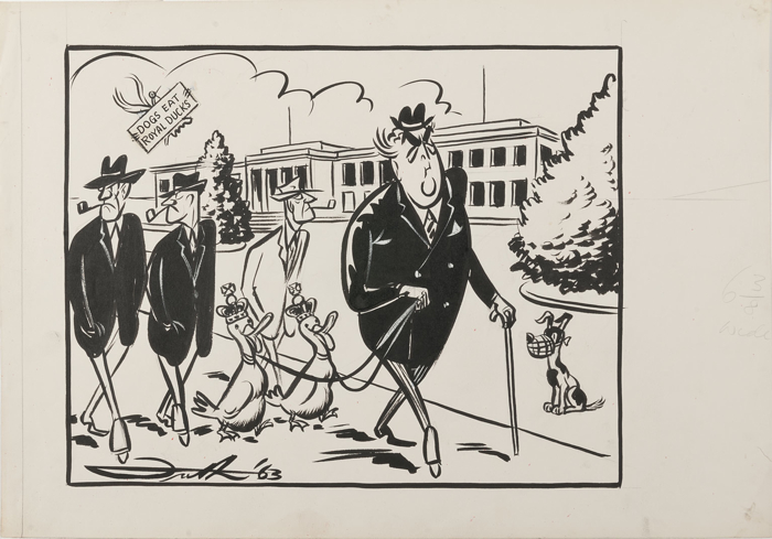 Robert Menzies walking two ducks, wearing crowns, as two bemused gentlemen walk behind him. The Provisional Parliament House is in the background. They are watched by a muzzled dog and a bird holding a sign: Dogs Eat Royal Ducks.