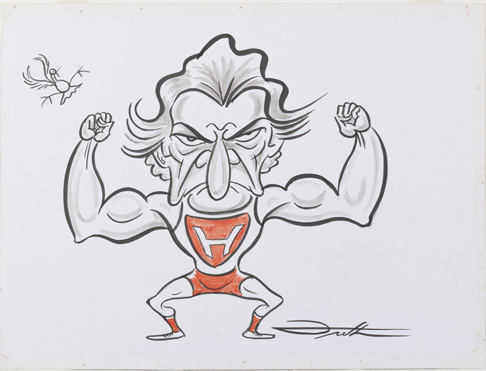 Bob Hawke depicted as a strongman or weightlifter, flexing muscles.